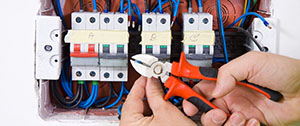 Electrician cutting wires
